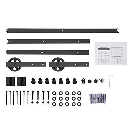 Binario per porta scorrevole, 6ft/8ft kit accessori per porta scorrevole scorrevole binario ruote rulli hardware della porta, maniglia per porta scorrevole, colore: nero (8ft)