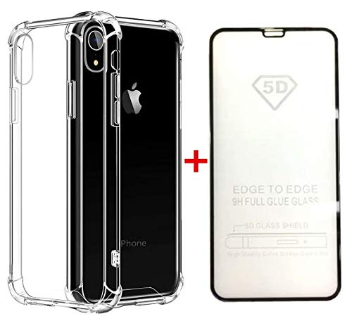 le +5D Gehärteter Glas Film Silikon Handyhülle TPU Transparent 360 Grad Schutzhülle Weich Flexibel Anti-Kratzer Durchsichtige Abdeckung Case Cover ()