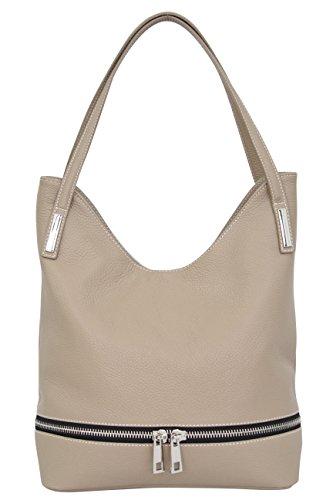AMBRA Moda Damen Leder Schultertasche Damen Handtasche Beutel Shopper GL003 Sand