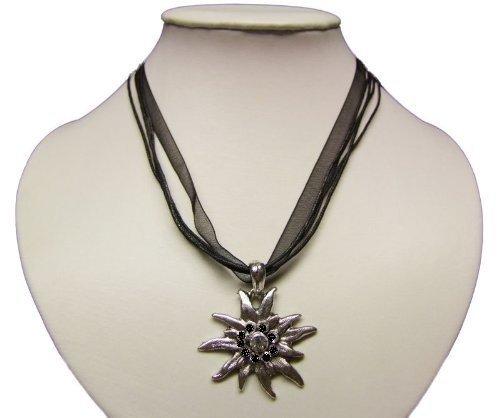 Trachtenkette mit Edelweiss Anhänger in Vielen Farben. Halskette für Dirndl und Lederhose (Schwarz)