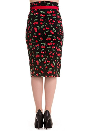 Hell Bunny CHERRY Pop Kirschen 50s Retro PENCIL Skirt / Rock Rockabilly -