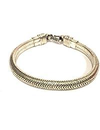 La Conchiglia-Bracciale Snake Metà Piatto Metà Rotondo Argento Indiano