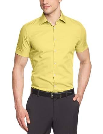s.Oliver BLACK LABEL Herren Businesshemd Slim Fit 12.305.22.2605, Gr. 38, Gelb (1310)