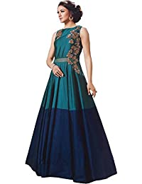 Vasu Saree Blue & Green Tafeta(Dual Colour) Gown