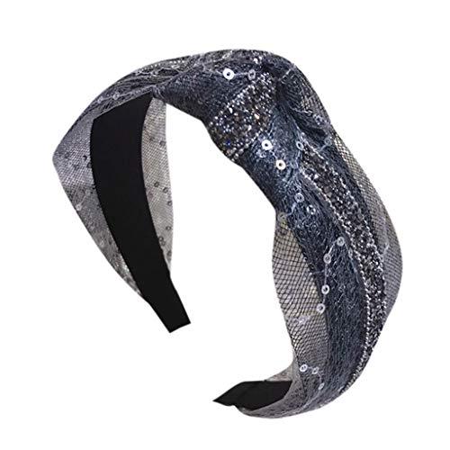 iCerber 2019 neu Frauen Farbe große Welle Punkt Bogen Stirnband süßes Stirnband Haarnadel Haar Accessorie Pailletten Mesh Kopfbedeckung Glänzend Exquisite Mode Stirnband