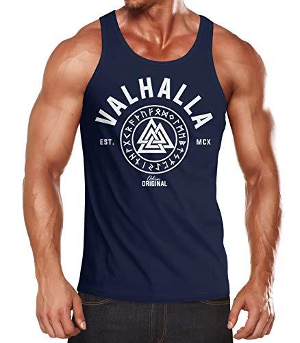 Neverless Herren Tank-Top Valhalla Runen Vikings Wikinger Muscle Shirt Navy L