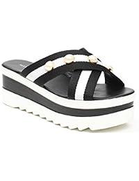 Ideal Shoes - Mules à plateforme ornées de perles Kalia