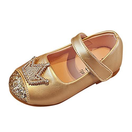 DIASTR Kinder Kleinkind Schuhe Infant Baby Mädchen Crown Strass Kristall Leder Einzelne Schuhe Party Prinzessin Schuhe Single Casual Sneaker Schwarz, Pink, Gold 31 Eu-34 Eu (Mädchen Größe 1 Cowboy Stiefel)