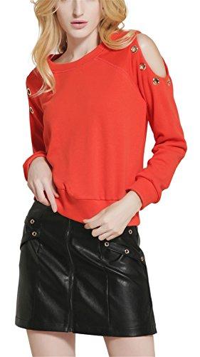 Fashion Cluster Femmes Casual Décontractée col rond manche longue épaule off Sweat-shirt pullover capuche T-shirt Blouse Tops Orange