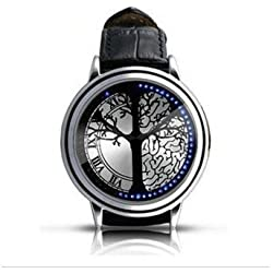 flylink? Stainless Steel Material Elegant Design Blue Hybrid Touch Screen LED Watch,COME WITH FREE KEYCHAIN High Class Design, Leather Band, Support Touchscreen by Flylink