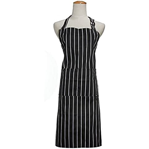 Bluelover Black White Stripe adulti Grembiule Uniformi Chef regolabile con