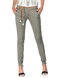 Salsa - Pantalons chinos verts avec ceinture cordon tressé - Colette - Femme