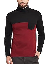Hypernation Maroon And Black Color High Neck Cotton T-shirt For Men