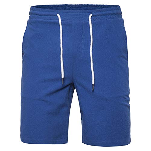 YURACEER Kurze Hosen Sommer Herren Cowboy Shorts Aturestory Leinen Baumwolle Shorts für Männer Sommer Casual Fitting Bord Kurze Mens Pure Colour Sportwear Kurze Hose Shorts(Kein Gürtel) x1