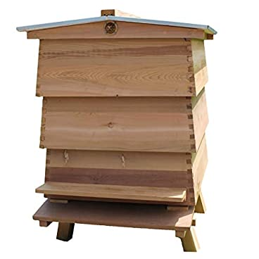 easibee Cedar WBC Beehive With Gabled Roof, 2 Supers & 1 Brood – FED21267