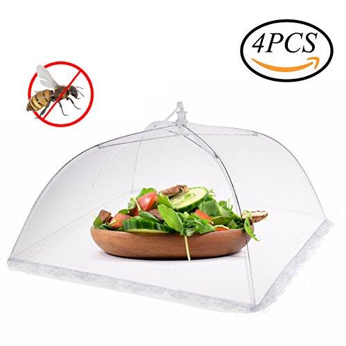 Infreecs tende per la copertura di cibo con schermo a maglie, 4 pack copertura cibo copertura alimentare tenere fuori mosche, bug, zanzare, 43 x 43 x 25 cm, bianco