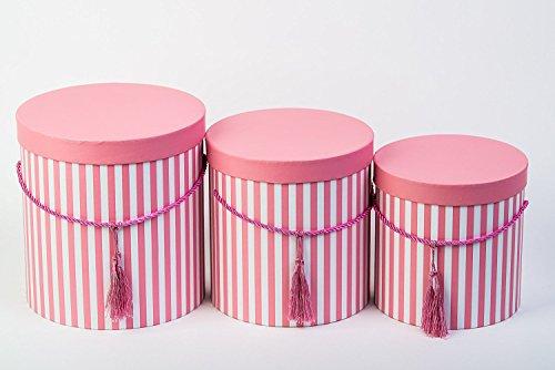 DECORPRO 3er Set runde Aufbewahrungsboxen mit Deckel, gestreift in Rosa, mit Kordel und Quaste, Hutschachtel, Dekobox mit Streifen, runde Blumenbox Runde Aufbewahrungsboxen