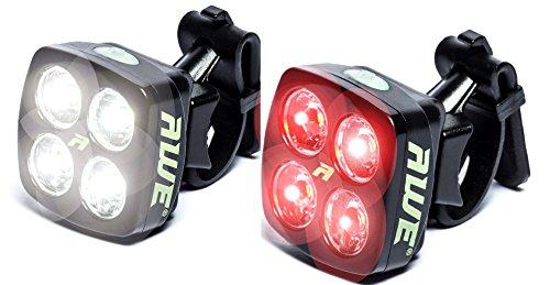 AWE-AWEBlitz-8-LEDs-USB-Recargable-delantera-de-la-bicicleta-y-trasero-Juego-de-luces-de-120-lmenes