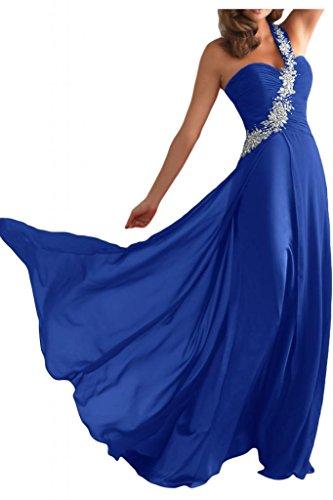 Toscane mariée une épaule pour femme en chiffon abendkleider de longueur fixe party ballkleider demoiselle d'honneur Bleu - Bleu roi