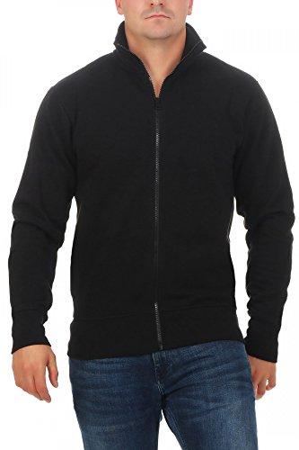 Happy Clothing Herren Sweatjacke ohne Kapuze Zip-Jacke Reißverschluss mit Kragen, Größe:L, Farbe:Dunkelblau