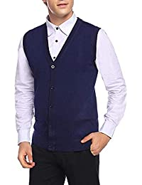 Fashion Sutra Men's Front Open Buttoned Sleeveless Woollen Cardigan with Pockets (Blue)
