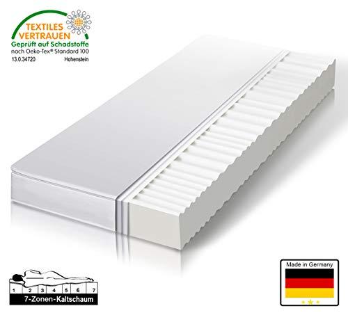 Träumegut 11 Orthopädische 7-Zonen Kaltschaummatratze - Matratze Härtegrad H2 & H3 - Microfaserbezug - ÖkoTex Rollmatratze (140 x 200 cm, H2)