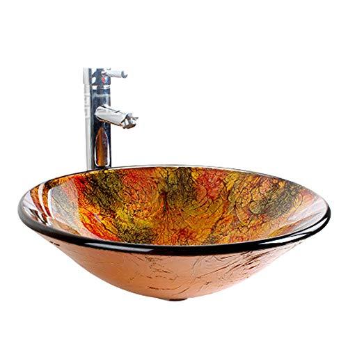 LINLIN Badezimmer-Runder Ausgeglichener Glasbehälter Countertop Sinken Kunst Über Zähler-Bassin Mit Wasserfall-Hahn-Montagering Und Wasser-Ablaß-Satz 42 * 14.5 * 1.2Cm 12L,E