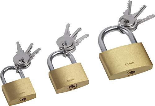 ss 3-teilig-25 mm, 30 mm & 40 mm-Gleichschließend-Körper aus Messing-Bügel aus Stahl-Je 3 Schlüssel/Vorhängeschlösser im praktischen Set/Bügelschloss / 9515300 ()