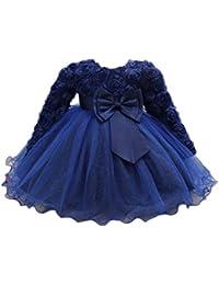 Feicuan Vestidos Rosette de Flores para niñas, Vestido de Manga Larga de bebé Vestido de Fiesta de Bautismo de…