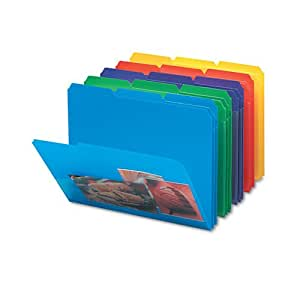 Smead® - Slash Pocket Poly File Folders, 1/3 Cut Top Tab, Letter, Assorted, 30/Box - Sold As 1 Box - Heavy-duty polypropylene folders are tear- and water-resistant.