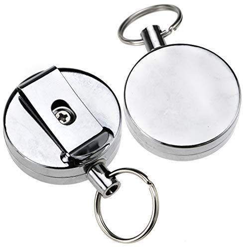 ENET 60 cm Pull Recoil Retractable Holding Key Chain Ring Clip Werkzeug Metall Draht