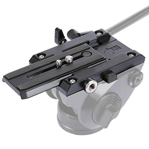 PULUZ Universal Aluminium Quick Release Klemme Backen Adapter Befestigungssystem + Schnellwechselplatte integrierte Wasserwaage mit 1/4 3/8Schrauben für DSLR & SLR Kameras Camcorder -