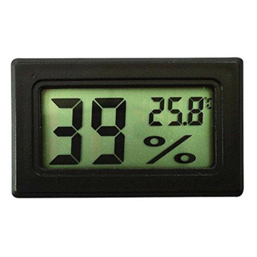 Bluelans® Mini LCD Digital Thermometer Temperatur Luftfeuchtigkeit Tester Hygrometer für Kühlschrank Aquarium (Schwarz)