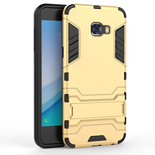 Galaxy C5 Pro Hülle,EVERGREENBUYING Abnehmbare Hybrid Schein SM-C5010 Tasche Ultra-dünne Schutzhülle Case Cover mit Ständer Etui für Samsung GALAXY C5 Pro Grau Gold