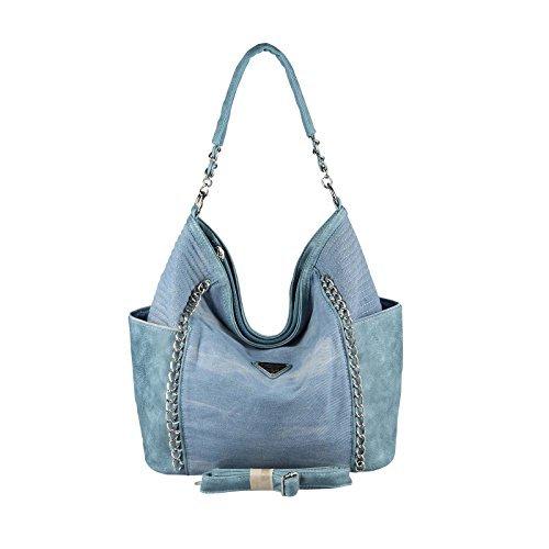 OBC XXL DAMEN JEANS TASCHE Metallic Handtasche Schultertasche Hobo-Bag Kette Henkeltasche Bowling Beuteltasche Shopper CrossOver (Blau 48x30x17 cm) (Jeans-handtasche)