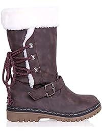 Fad-J Invierno Antideslizante Botas De Nieve Caliente, Impermeable Antideslizante Zapatos De Mediana Edad