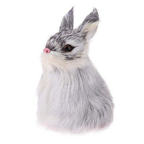 Everpert cute simulazione squat coniglio coniglietto pasquale, giocattoli casa finestra ornamenti grey