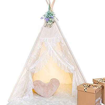 HAN-MM Floral Classic Ivory Kids Teepee Kids Play Tent Childrens Play House Tipi Kids Room Décor
