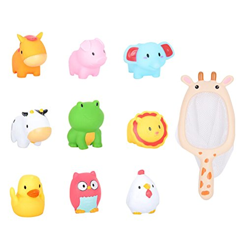TOYMYTOY Juguetes divertidos de la diversión de 9pcs que flotan los juguetes del baño del agua del vinilo del juguete para el tiempo del baño infantil del bebé con una malla de la jirafa