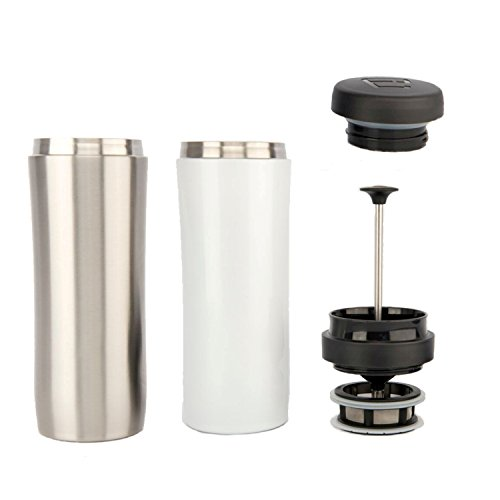 ESPRO Reise-French Press Travel Press, Mini Tea Maker mit Thermo-Funktion, Edelstahl, Tee to go, 350ml, edelstahl