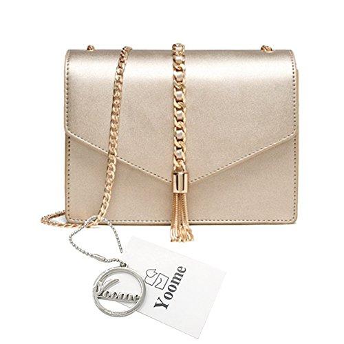 Sacchetti di busta della nappa della Yoome Pure Color Bag Retro per le borse della catena di cuoio delle donne per le ragazze - oro Oro
