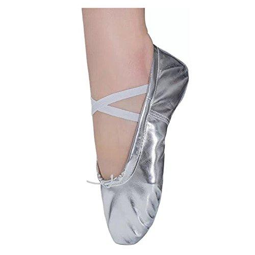 (Ballettschläppchen Mädchen Ballett Tanzschuhe Kinder Ballettschuhe Damen Ballerinas Training Schläppchen Spitzenschuhe Silber Gr.31)