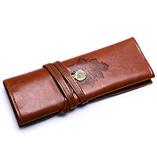 BAIGIO Bolso de Lápices de PU Rollo Caja de Lapiz de Arriba Lapiz Bolsa Estilo Vintage Bolso,Marrón