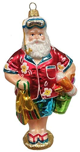 Pinnacle Peak Trading Company Tropical Beach Santa Polish Glass Christmas Ornament Snorkel Coastal Decoration