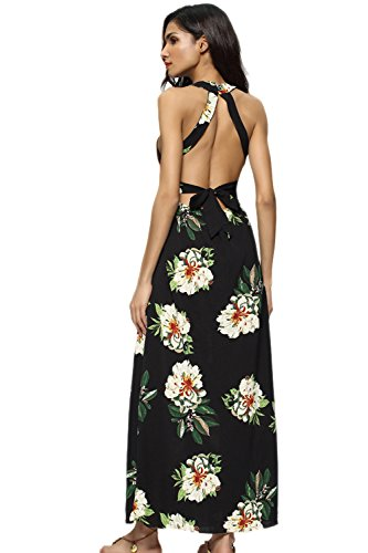 Damen Ist Sommer Schulterfreien Floral Split Long Beach Party - Kleid Black