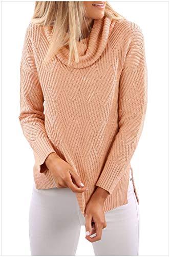 Damen Cowl Neck Side Split Sweater Rosa S -