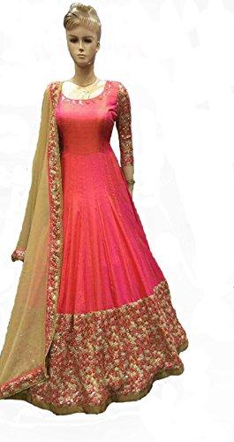 Sai creation Women's Designer New Blue Printed Anarkali Style Semi - Stitched...