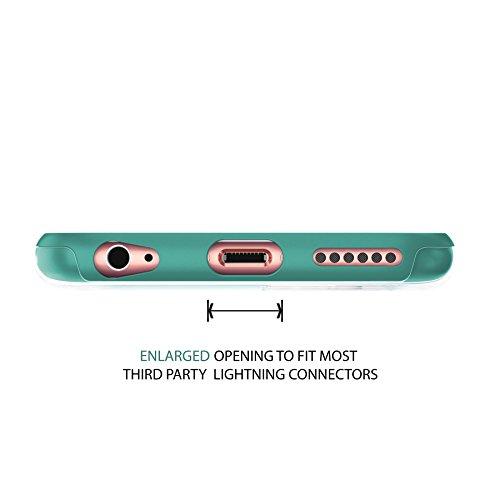 """iPhone 6 6s Case 4.7"""", Hülle True Color® Breite Chevron Waves Gedruckt auf freier transparenter Hybrid -Abdeckung Hard + Soft Slim dünnen haltbaren Schutzschutz aus Gummi TPU Stoßabdeckung - Teal Schmal Teal"""