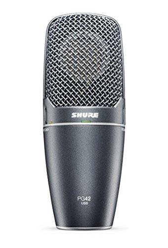 Shure PG42-USB, micrófono de condensador de captación lateral, especialmente personalizado para captar volcalistas con todo lujo de detalles, plug and play, sonido de alta calidad, preamplificador integrado con control de ganacia microfónica, monitorización de latencia cero, jack de auriculares.