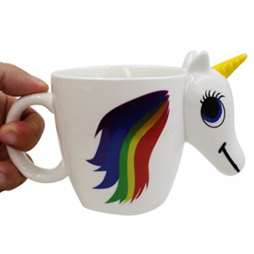 SPECOOL 3D Unicorn Mug, cerámica Color cambiante taza Taza de café mágica sensible al calor